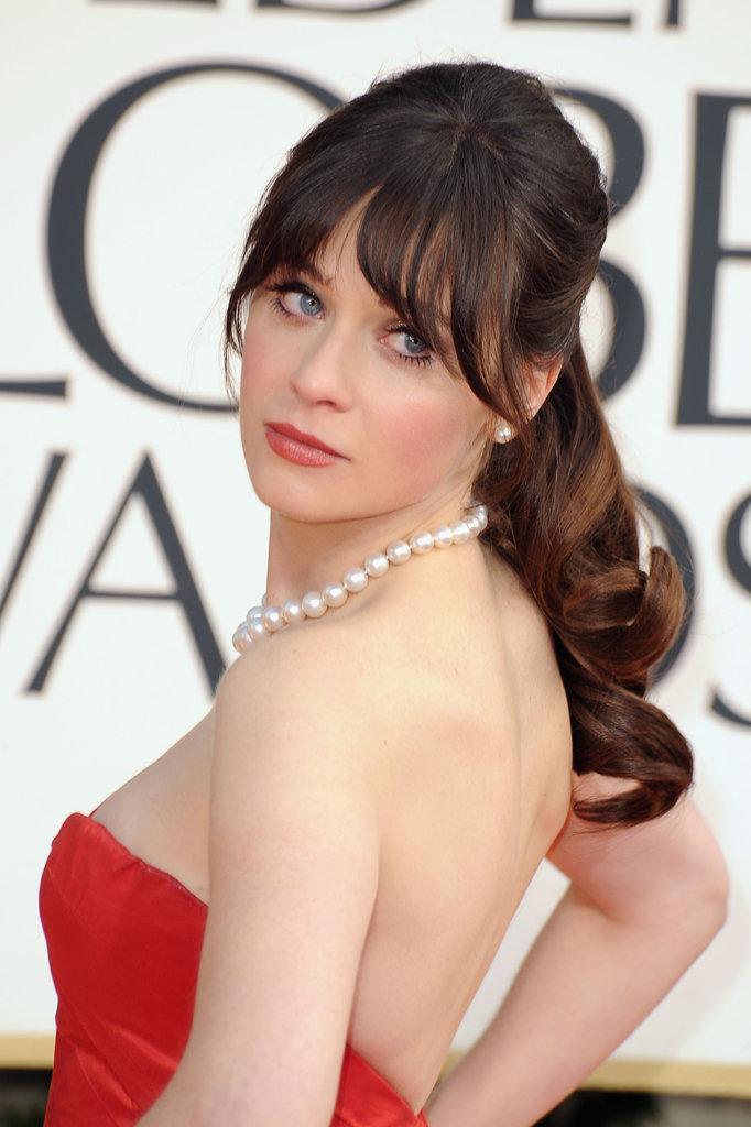 Celeb Diary Zooey Deschanel 2013 Golden Globe Awards