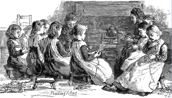 A drawing of children learning to plait straw. Image courtesy of Brian Webb of thestrawplaiters.com  – a website devoted to Luton Town F.C. in the Victorian era
