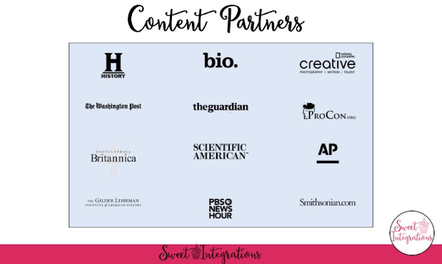 Content Partners - History, Bio., Creative, The Washington Post, theguardian, ProCon.org, Britannica, Scientific America, AP, Gilder Lehrman, PBS News Hours, Smithsonian.com