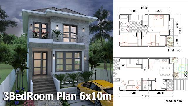 sketchup small home design plan 6x10m - Sketchup Home Design