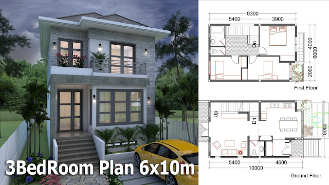 Sketchup Small Home Design Plan 6x10m House Plan Map