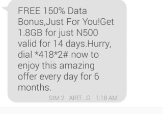 Activate Airtel new 150% data bonus offer to Enjoy 1.8GB for #500