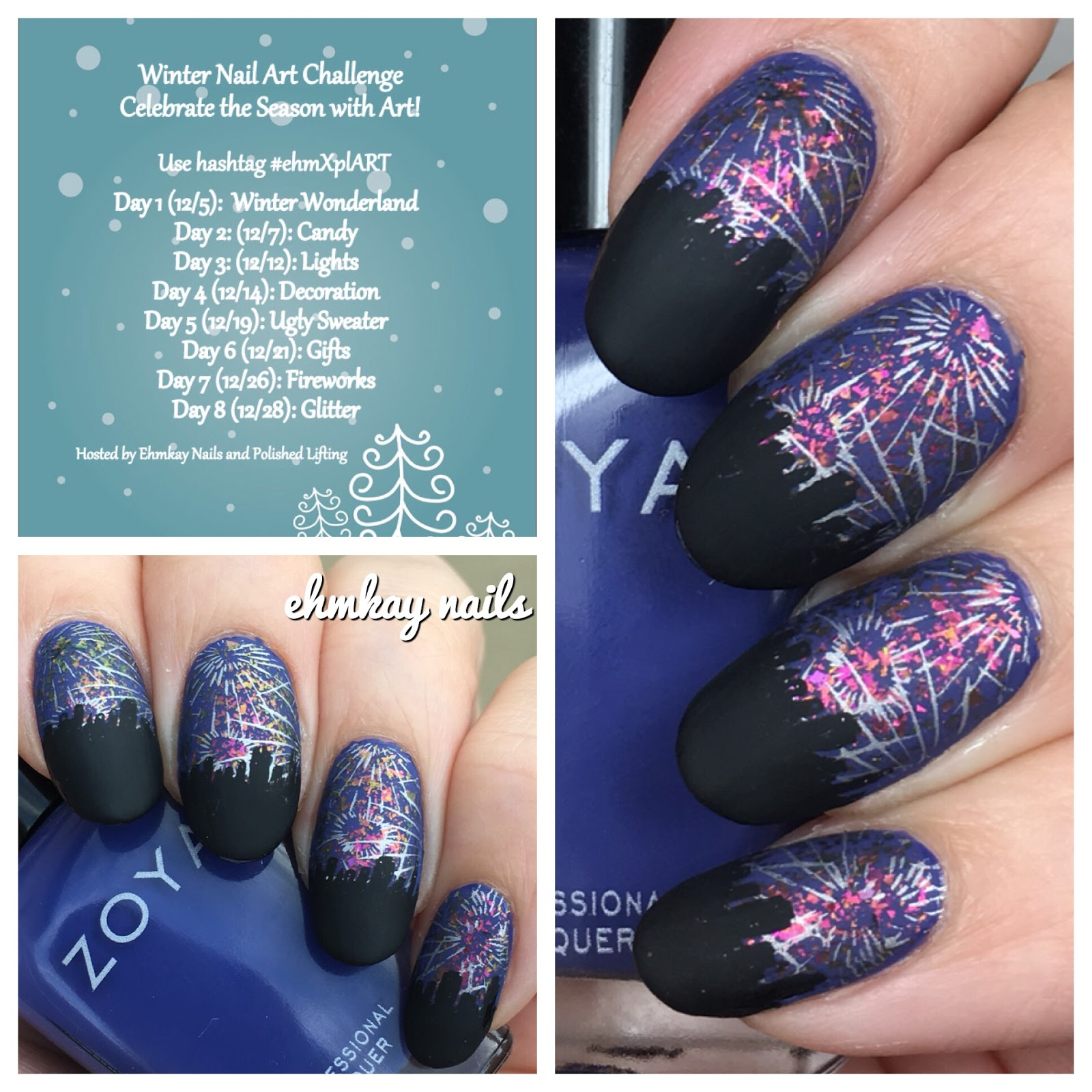 Ehmkay Nails Winter Nail Art Challenge Fireworks Over The City