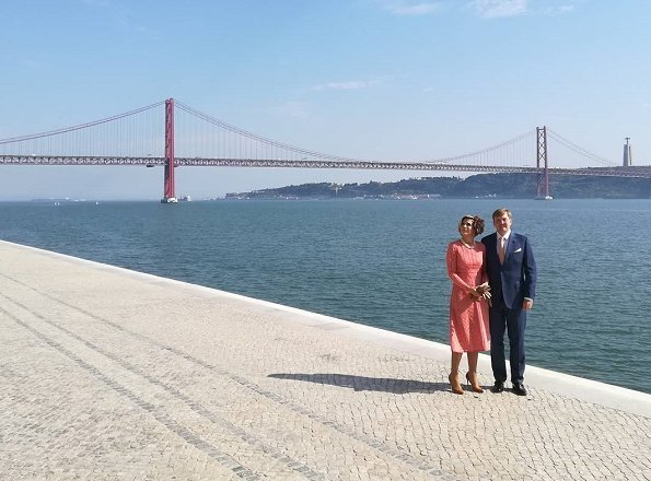 Queen Maxima wore ELIE SAAB Cotton blend Lace Dress. Champalimaud Centre for the Unknown in Belem
