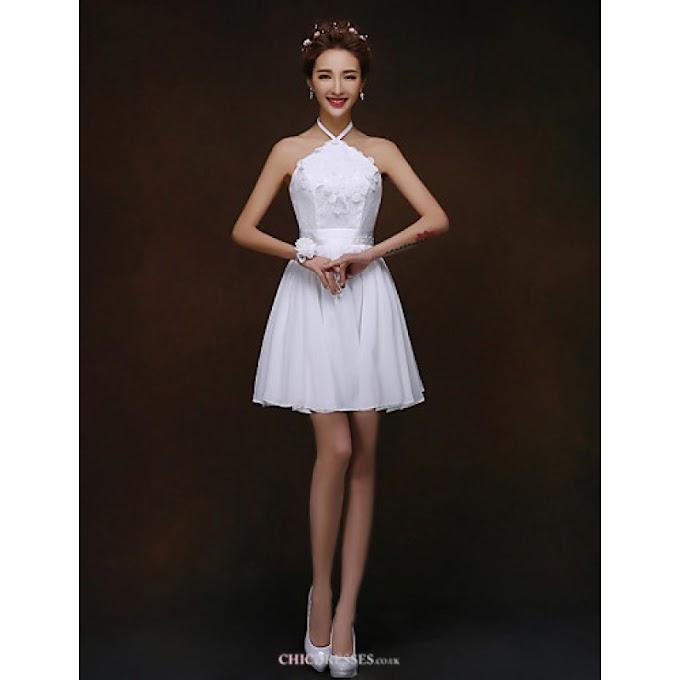 Short/Mini Bridesmaid Dress - White A-line / Princess Halter