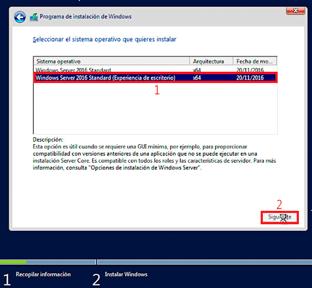Microsoft Windows Server 2016 con Experiencia de escritorio.