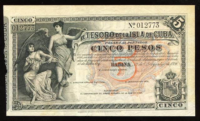 Cuba banknotes 5 Pesos Treasury Note money currency