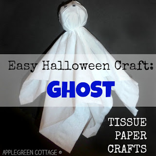 how to make a tissue paper ghost - Halloween crafts for kids