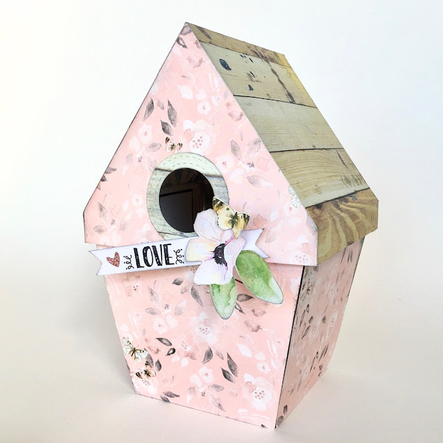 Exploding Birdhouse by Angela Tombari using BoBunny Serendipity Collection