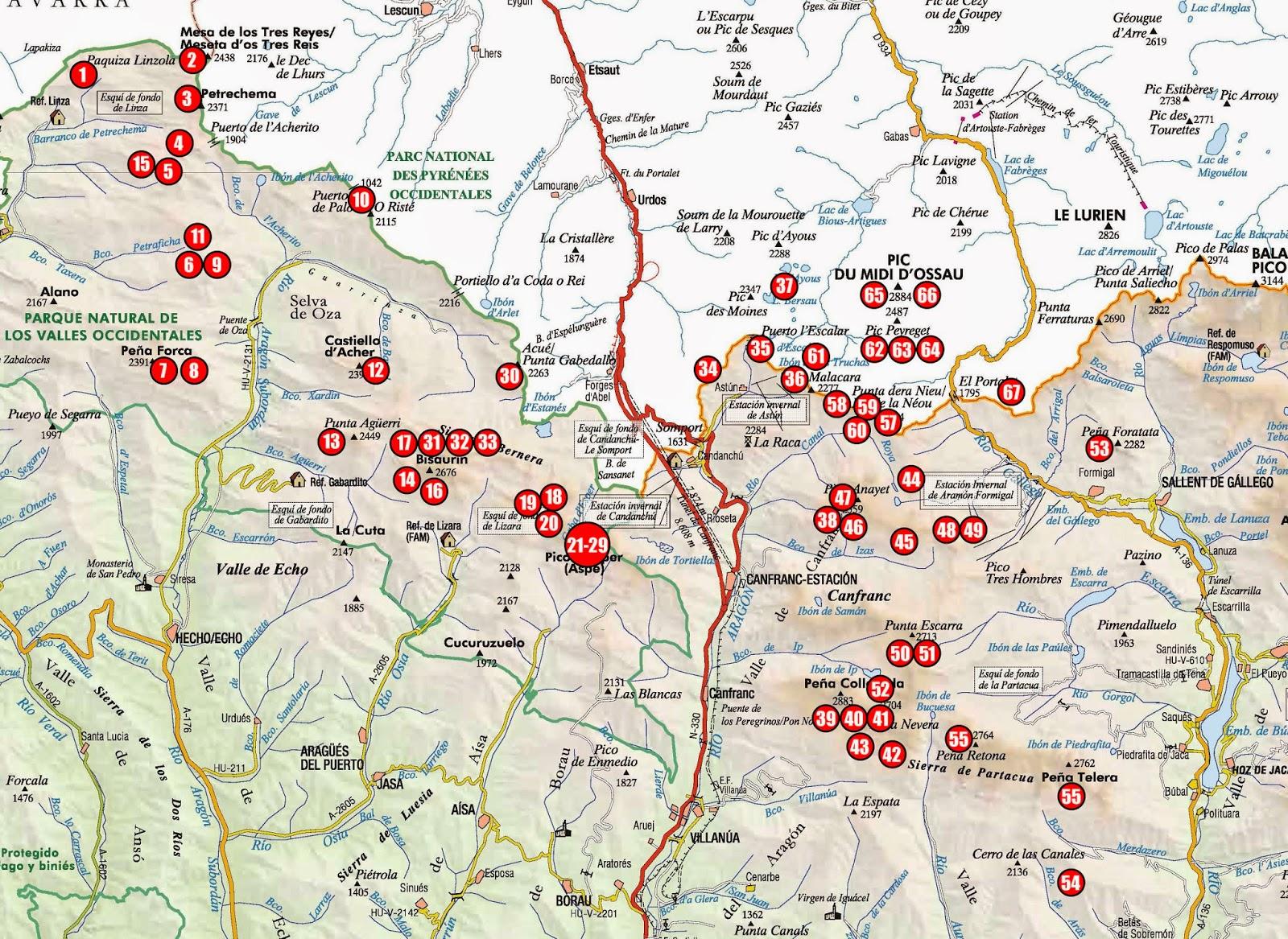 Mapa De Los Pirineos.La Meteo Que Viene Rutas Con Esquis Pirineo Aragones Mapa
