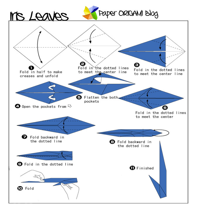 How to make an origami Iris flower | Paper Crafts Instructions and ... | 720x672
