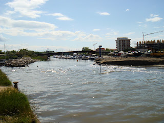 The Fiume Rubicone - the Rubicon river - as it looks today  near the point where it enters the sea at Cesenatico