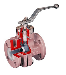 cutaway view lined ball valve for industrial fluid process control