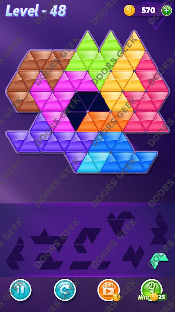 Block! Triangle Puzzle Master Level 48 Solution, Cheats, Walkthrough for Android, iPhone, iPad and iPod