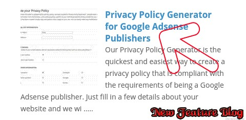 newfeatureblog.com privacy policy page create