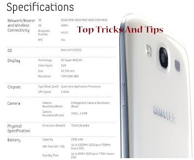 Samsung Galaxy S3 - Full Specification ( Top Tricks And Tips )