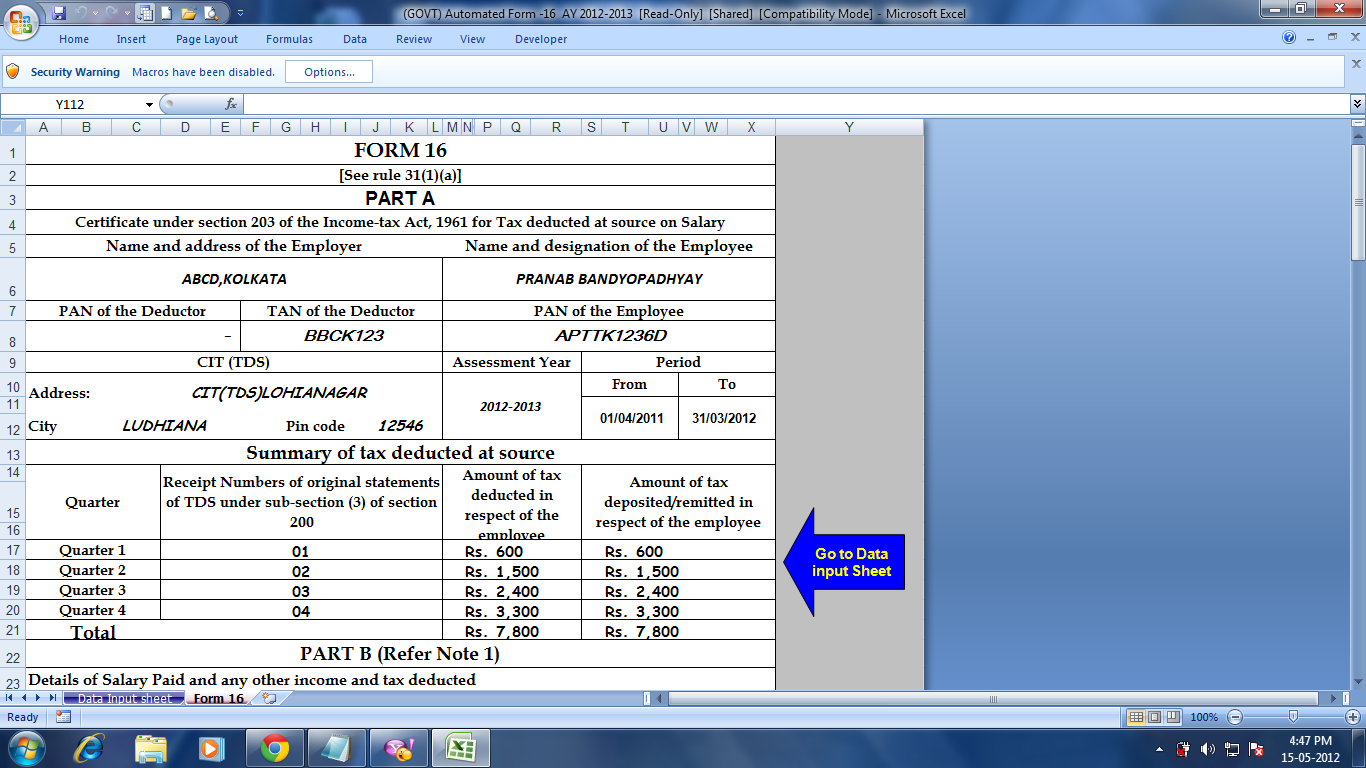Free download form 16 in excel format for ay 2012-13