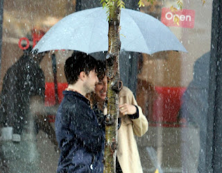 Daniel Radcliffe filming in the rain for The F Word