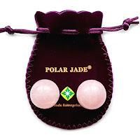 Solid Pink Quartz Ben Wa balls by Polar Jade