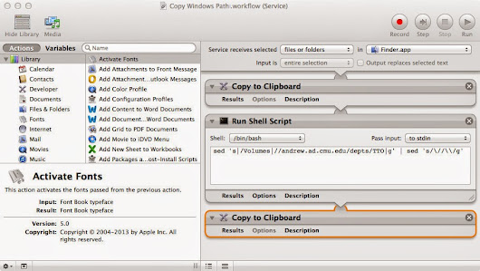 Copy path of file on SMB share on a Mac and convert to Windows format using Automator