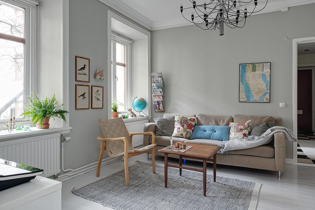 zdjęcia ptaków, rysunki ptaków, salon w stylu skandynawskim, szara sofa