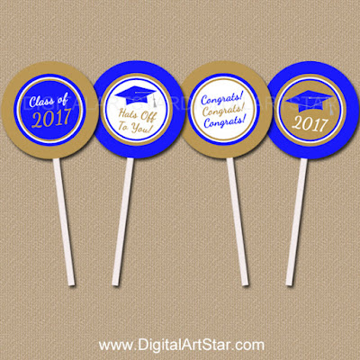 graduation cupcake toppers in royal blue and gold