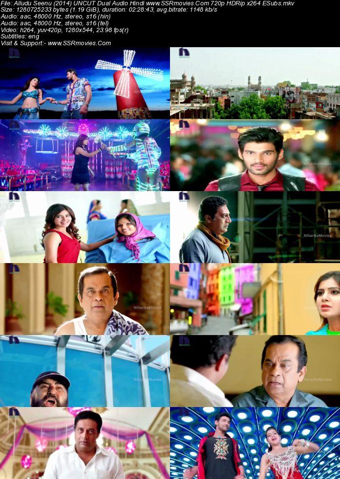 Alludu Seenu (2014) UNCUT Dual Audio Hindi 480p HDRip 500MB ESubs Movie Download