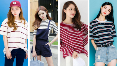 Horizontal Striped T-shirt Wanita Korea