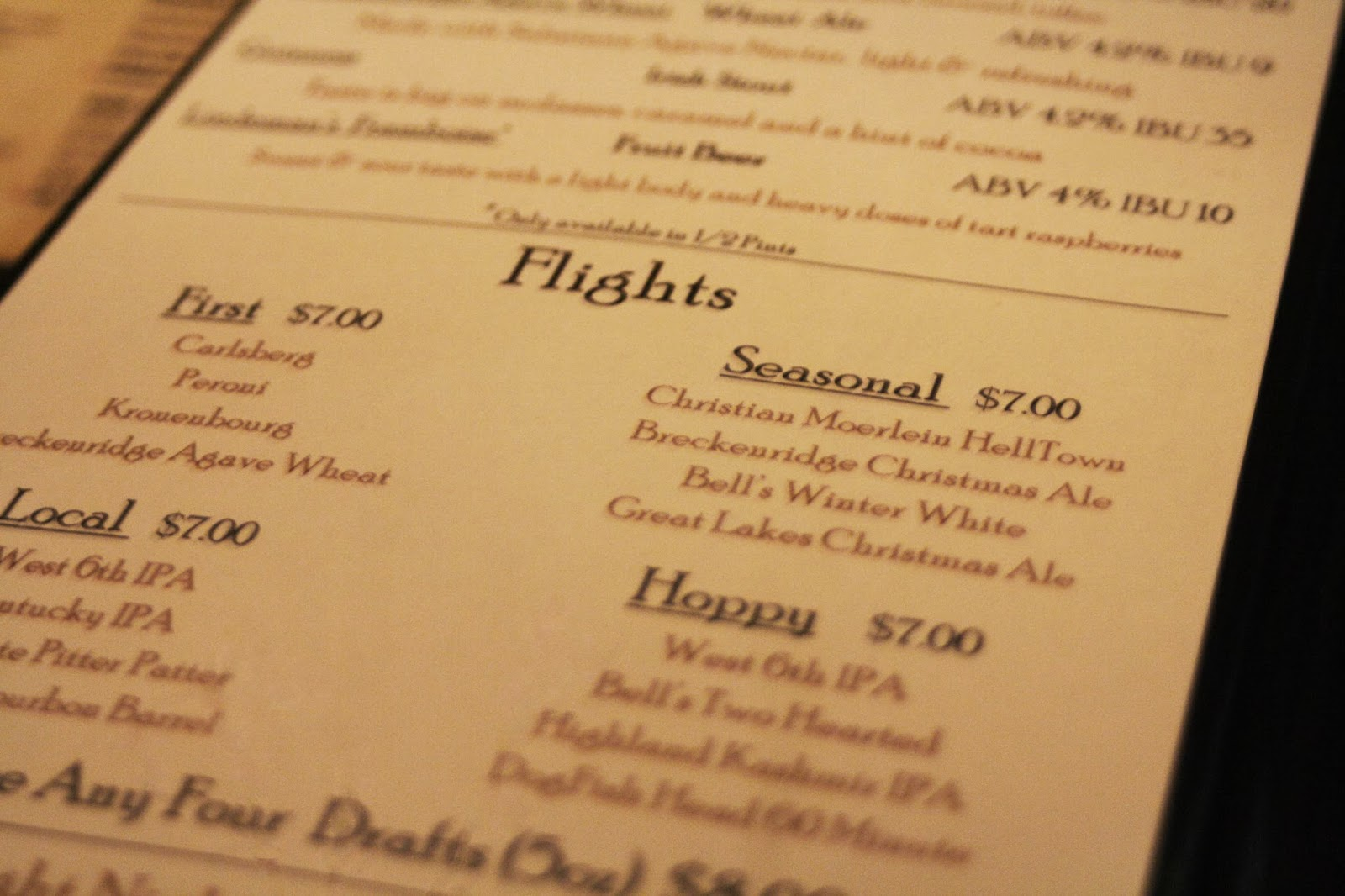 pub menu, local beer flights