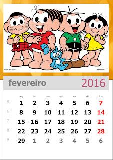 Calendário Turma da Mônica 2016 Fevereiro