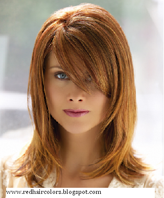 dark brown hair with orange highlights