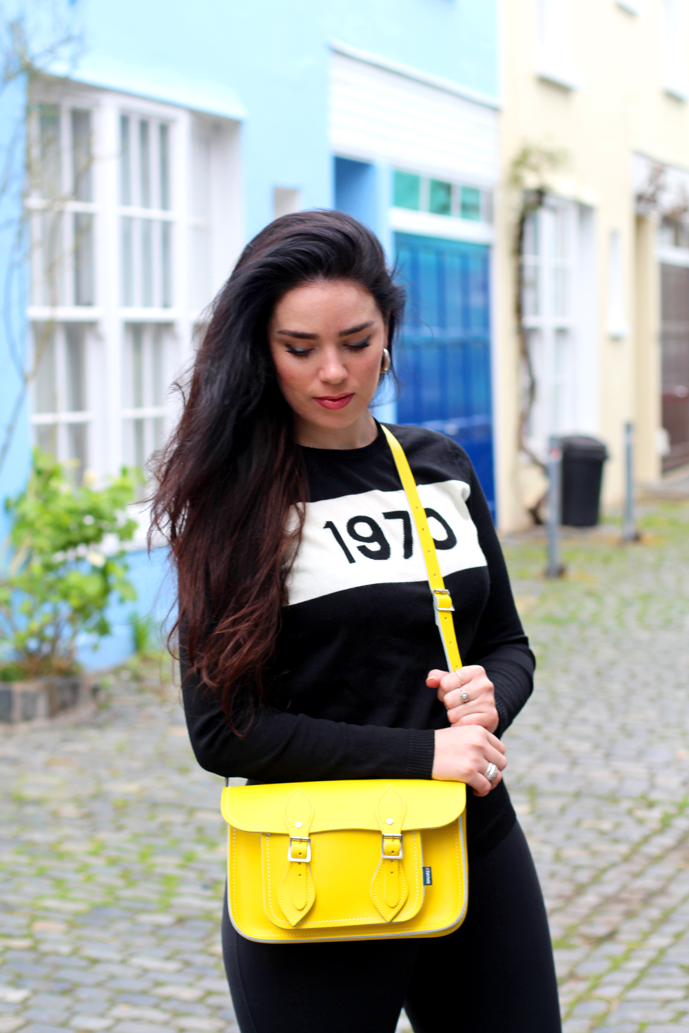 Black 1970 Bella Freud jumper on Emma Louise Layla - London style blog