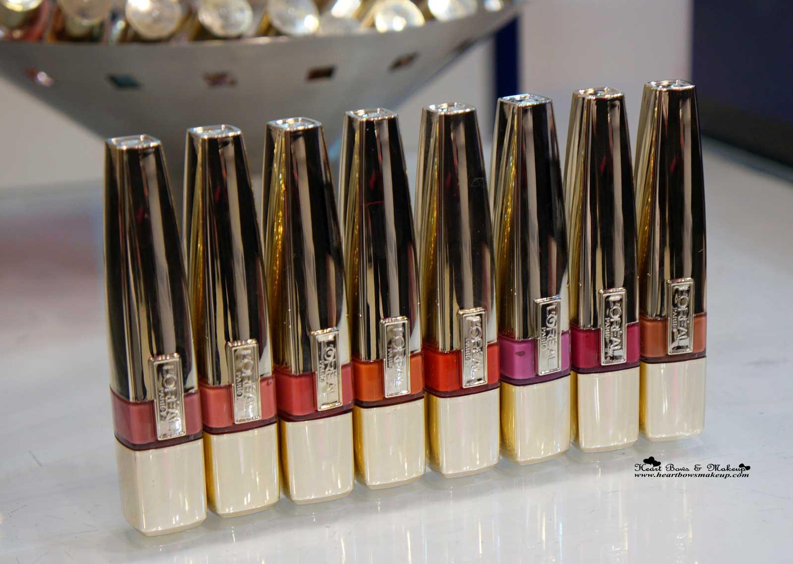 All L'oreal Shine Caresse Lip Colors Swatches Lolita Venus Bella Faye Juliette Milady Eve Pretty Woman