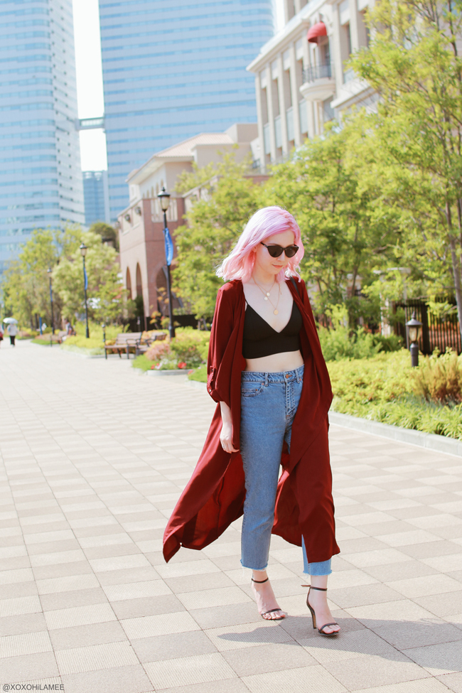 Japanese Fashion Blogger,MizuhoK,20180609OOTD,SheIn=burgundy outerwear,Crop cami top/CHOIES=black strap sandals/Light in the box=ring crossbody,?=sunglasses/Bershka=coin necklace