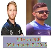 Live score IPL 2018 RCB vs SRH