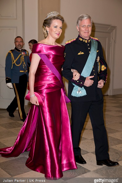Queen Mathilde of Belgium and King Phillipe of Belgium attend a Gala Dinner at Christiansborg Palace on the eve of The 75th Birthday of Queen Margrethe of Denmark