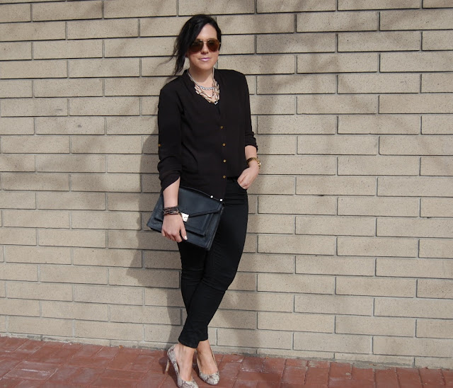 Loeffler Randall Rider bag, Forever 21 blouse, Old Navy Rockstar jeans and snakeskin pumps