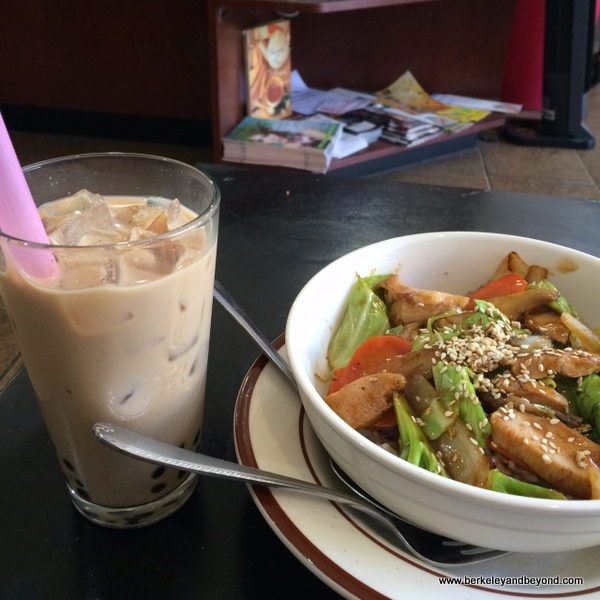 boba tea and chicken rice bowl at A 'Cuppa Tea in Berkeley, California