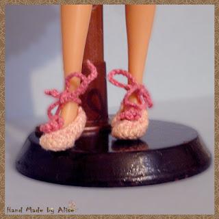 туфли для Барби крючком