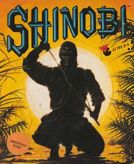 Portada del disquete de Shinobi para el Amstrad CPC 6128