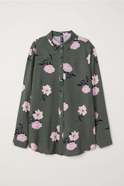 camicia a fiori color kaki