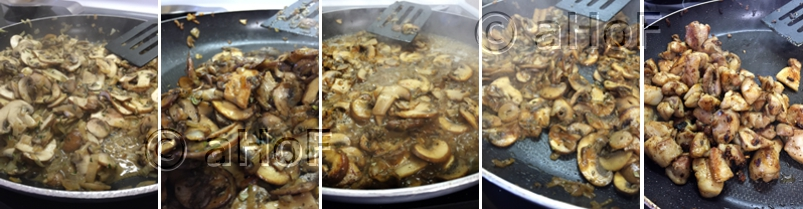 Cooking Mushrooms and Chicken