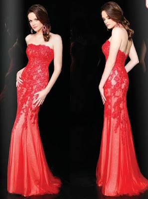 vestido strapless color rojo 2016