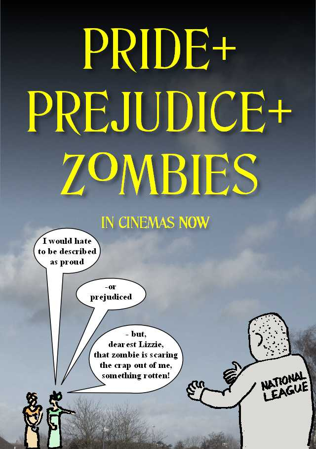 Image of spoof film ad for Pride+Prejudice+Zombies