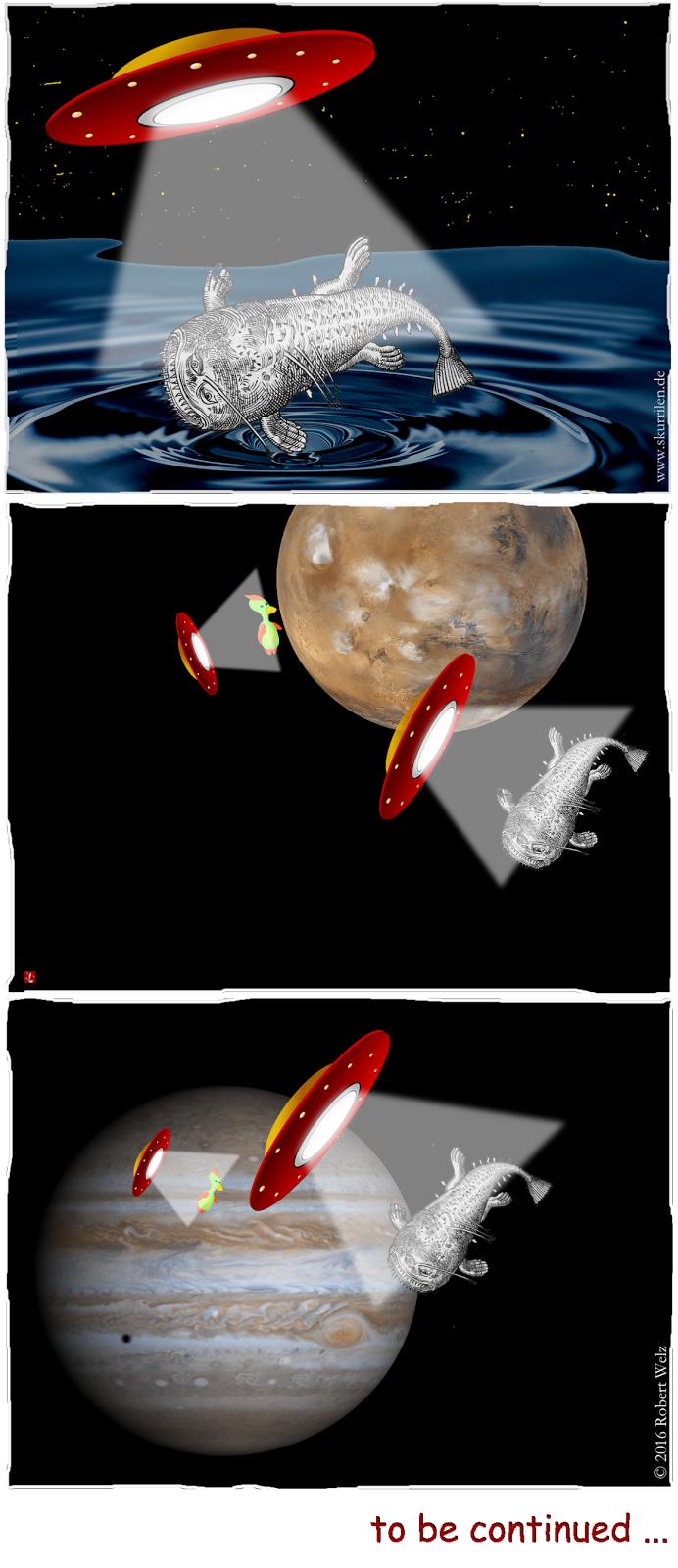 Was planen die außerirdischen Besucher mit unserem Seeungeheuer? Ist der Mars besiedelt? Wohin geht die Reise der Untertassen?