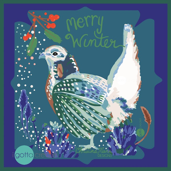 Merry Winter Grouse by Christina Mann Designs (c) is available for licensing.