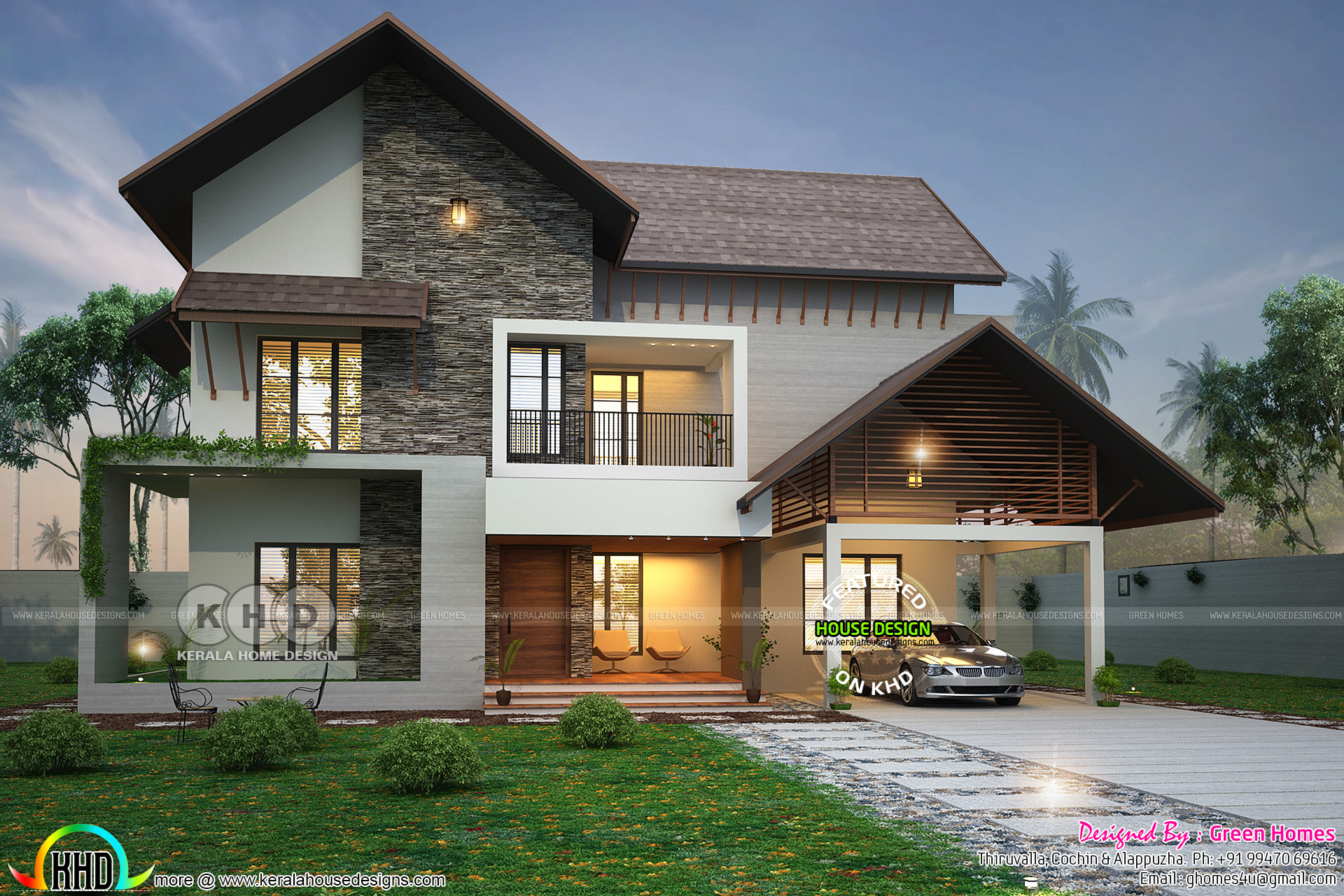 2900 square feet 4 BHK sloped roof house - Kerala home ...