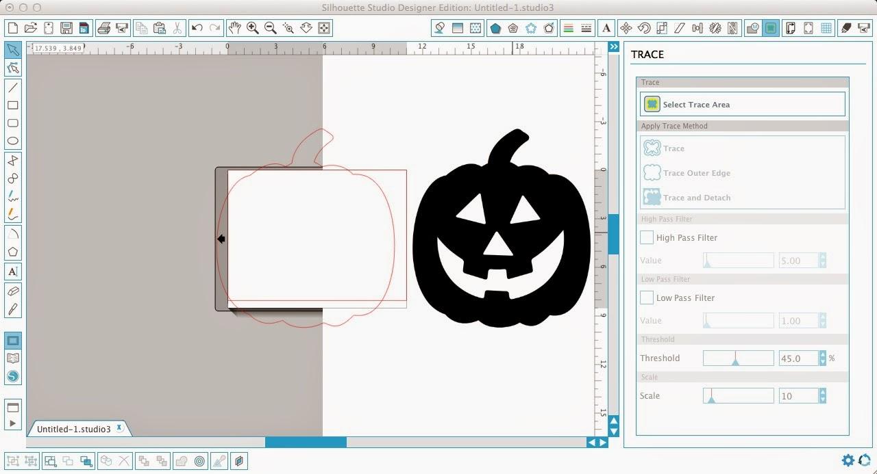 Monogram, pumpkin, Silhouette Studio, Silhouette tutorial, trace outer edge