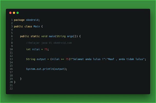 Contoh code program operator ternary java