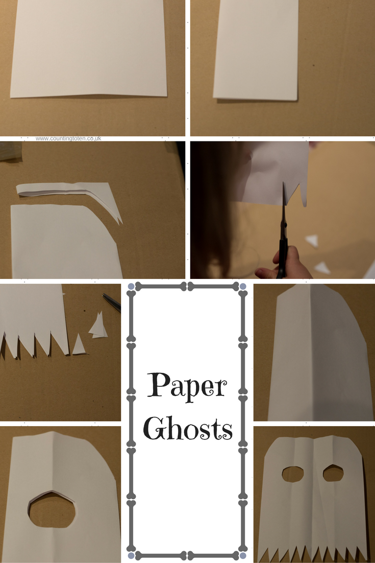 Photographs to illustrate how to make paper ghosts as described below